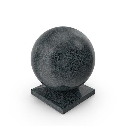 Bola de granito sobre base cuadrada negra