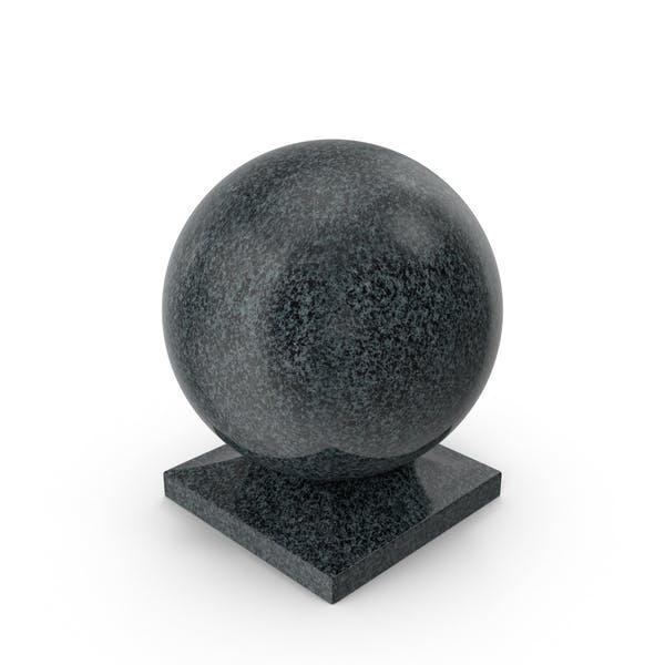 Granite Ball on Square Base Black