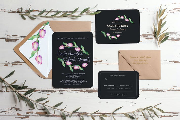 Cover Image For Tulip Wedding Invitation Suite