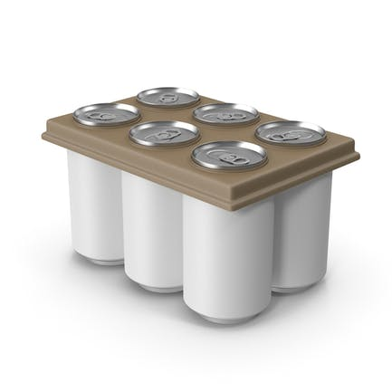 Pack with 6 White Soda Cans