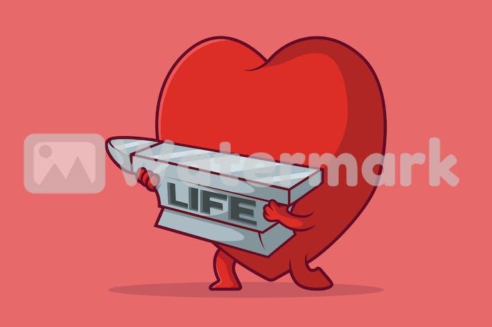 Herz heben ein Gewicht