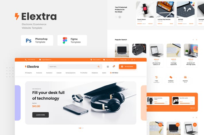 Thumbnail for Elextra Electronic E-commerce Website Template