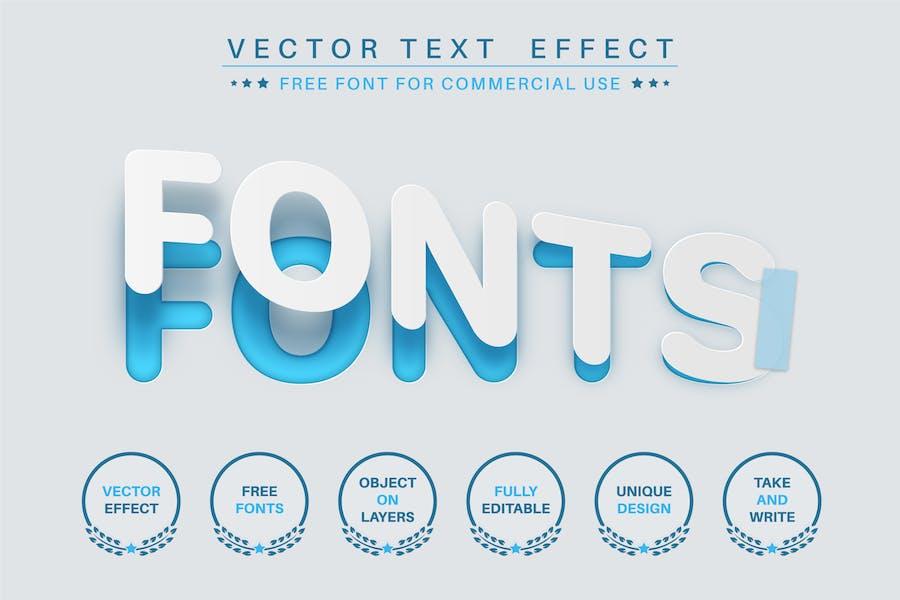 Разорванная бумага - редактируемый текстовый эффект, стиль шрифта