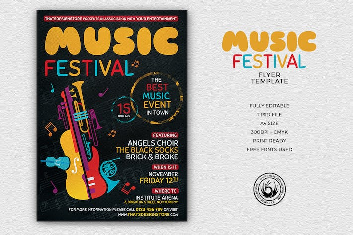 Music Festival Flyer Template V10 By Lou606 On Envato Elements