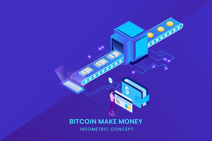 Cover Image For Bitcoin Make Money - Insometric Vector