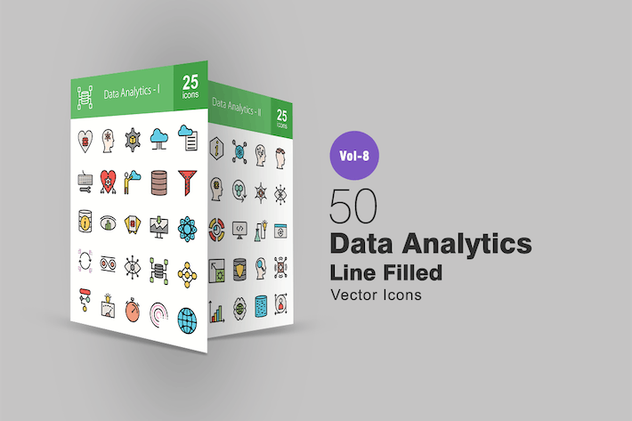 Thumbnail for 50 Data Analytics Line Filled Icons