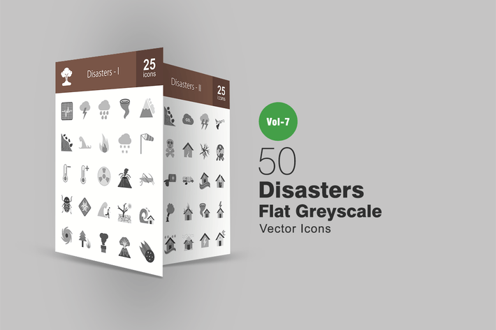 Thumbnail for 50 Disasters Flat Greyscale Icons