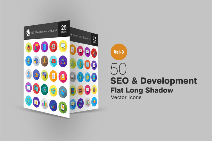Thumbnail for 50 SEO & Development Flat Shadowed Icons