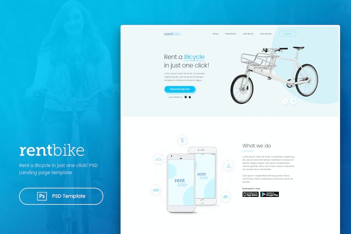 Thumbnail for RentBike - Rent a Bicycle Landing PSD Template