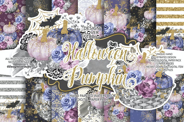 Thumbnail for Halloween Pumpkin digital paper pack