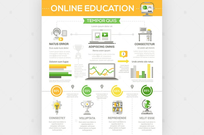 Cover Image For Online education - flat design style poster