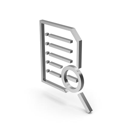 Symbol Document Zoom Out Silver