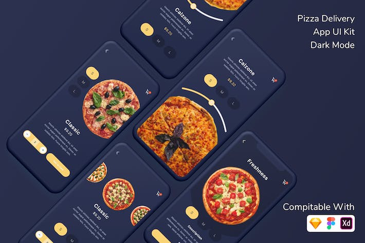 Thumbnail for Pizza Delivery App UI Kit Dark Mode