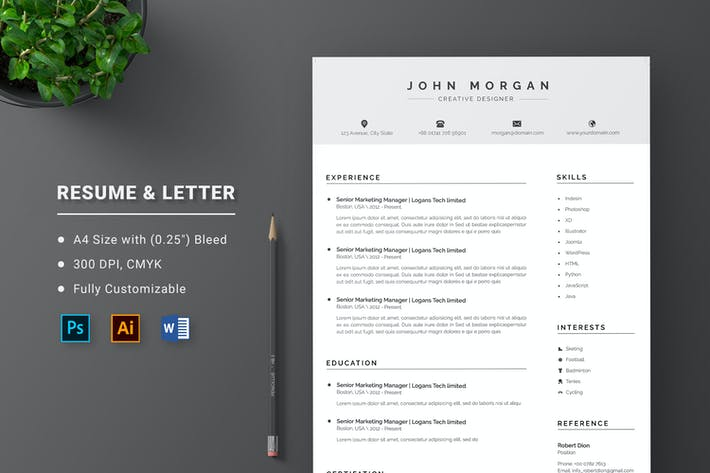 Minimalist CV Word Office