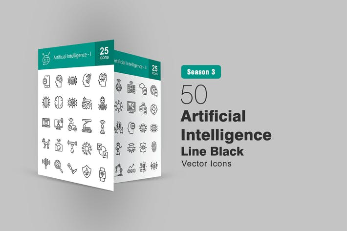 50 Íconos de línea de inteligencia artificial