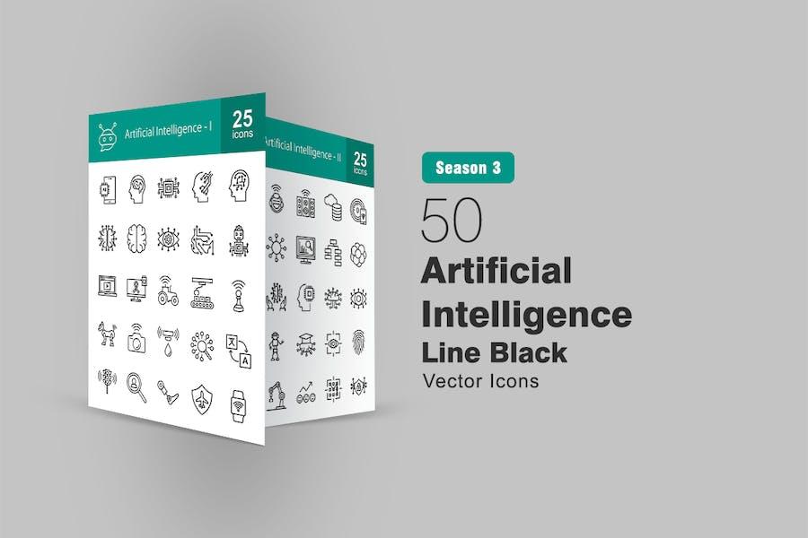 50 künstliche Intelligenz Line Icons