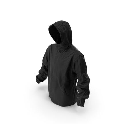 Chaqueta negra militar capucha