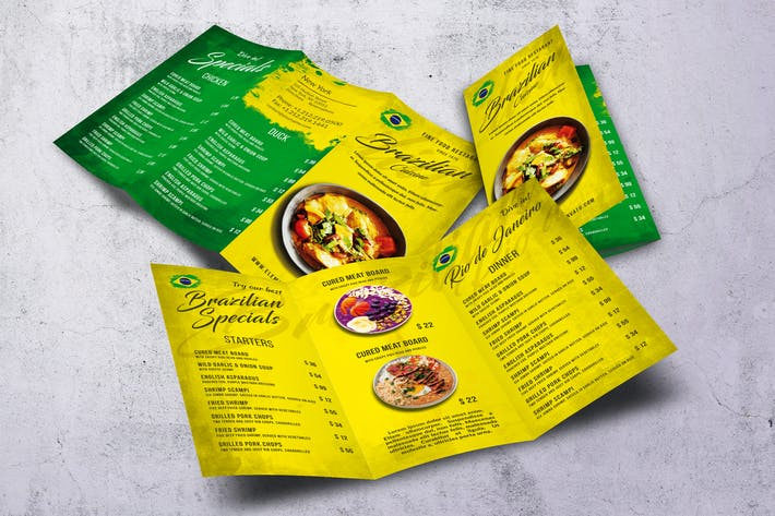 Thumbnail for Brazilian Cuisine Trifold A4 & US Letter Menu