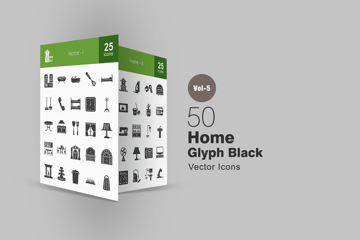 Thumbnail for 50 Home Glyph Icons
