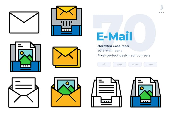 Thumbnail for 70  E-mail Icons - Detailed Line Icon