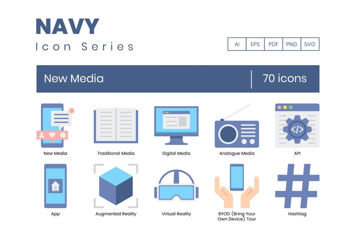 70 neue Medien Icons - Navy-Serie