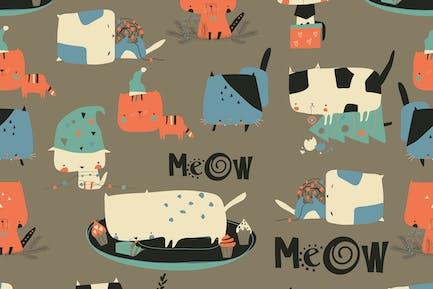 Vektor nahtloses Muster mit niedlichen verrückten Katzen