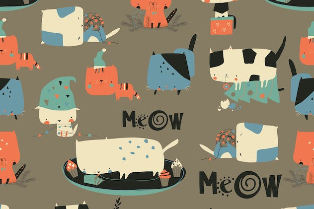 Vector seamless pattern with cute crazy cats