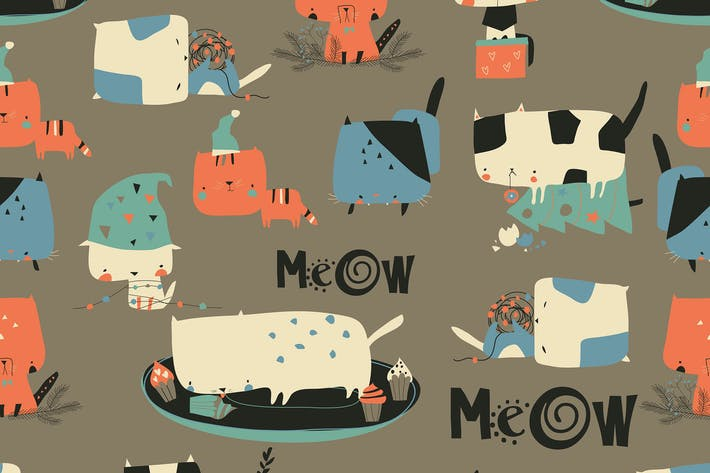 Thumbnail for Vector seamless pattern with cute crazy cats