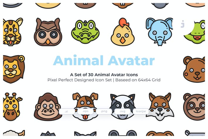 Thumbnail for 30 Animal Avatar Icons