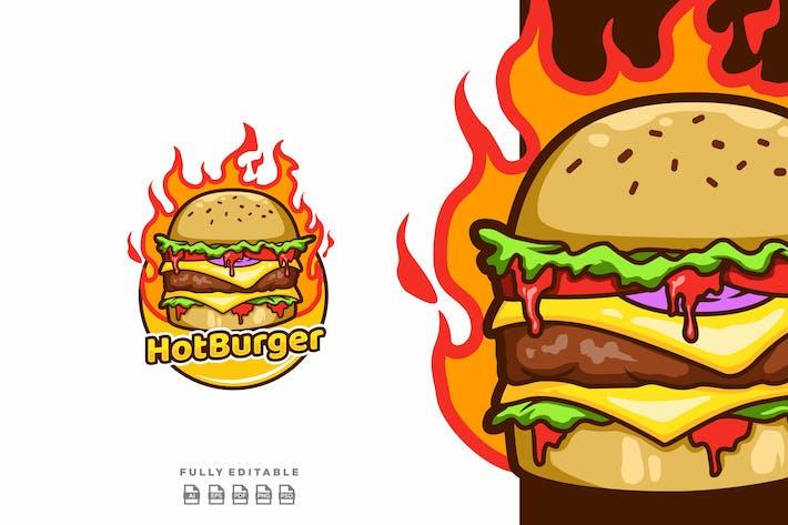 Hot Burger Food Logo