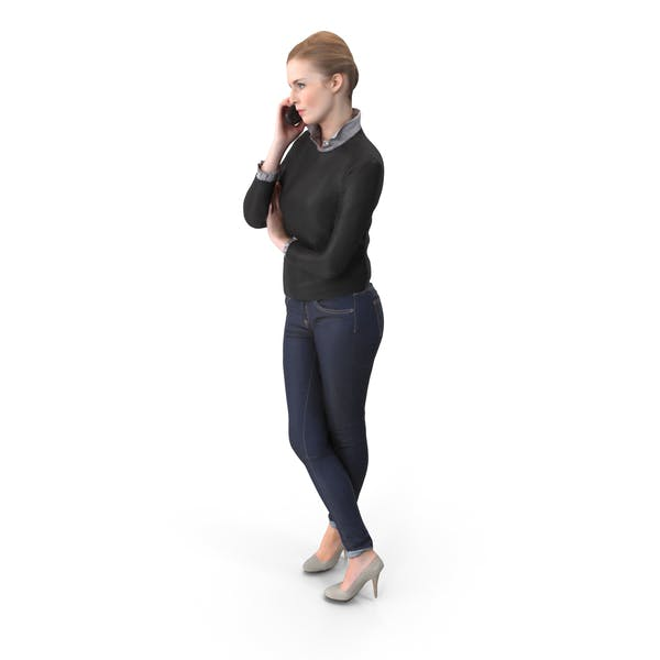 Woman With Phone Posed