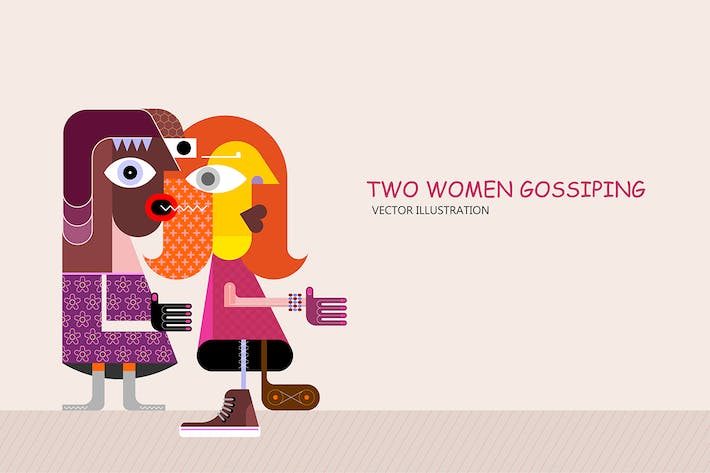 Thumbnail for Gossiping Couple vector illustration