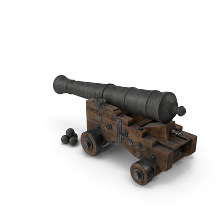 Medieval Gun Lowered on Gun Carriage with Cannonballs