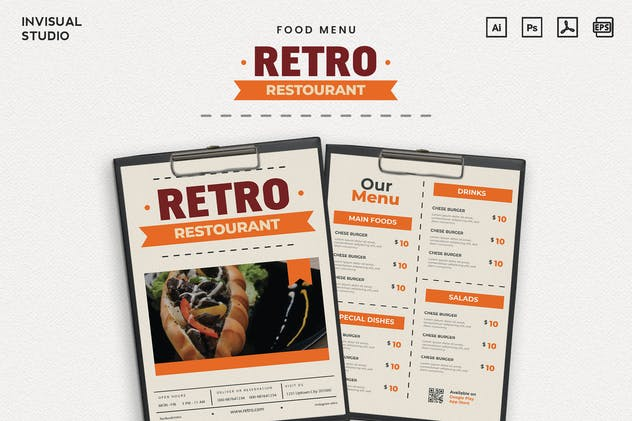 Retro Restourant - Food Menu