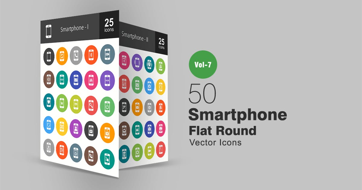 Download 50 Smartphone Flat Round Icons by IconBunny