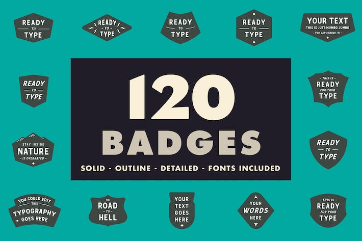 Thumbnail for 120 badges - Solid, outline & detailed!