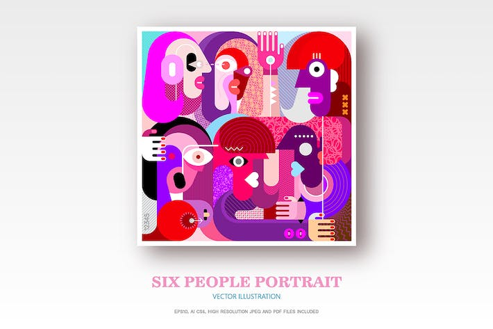 Cover Image For Portrait of Six People vector illustration