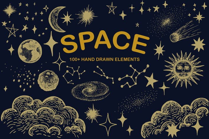 Raum Hand gezeichnet - Sternenmond-Sonnenplaneten-Zo