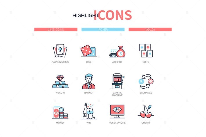 Thumbnail for Poker and gambling - line design style icons set