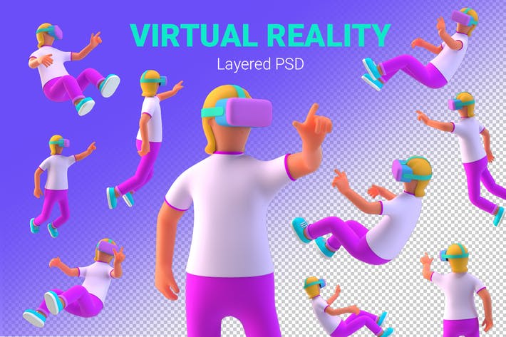 Thumbnail for VR Girl in Virtual Reality PSD 3D illustration