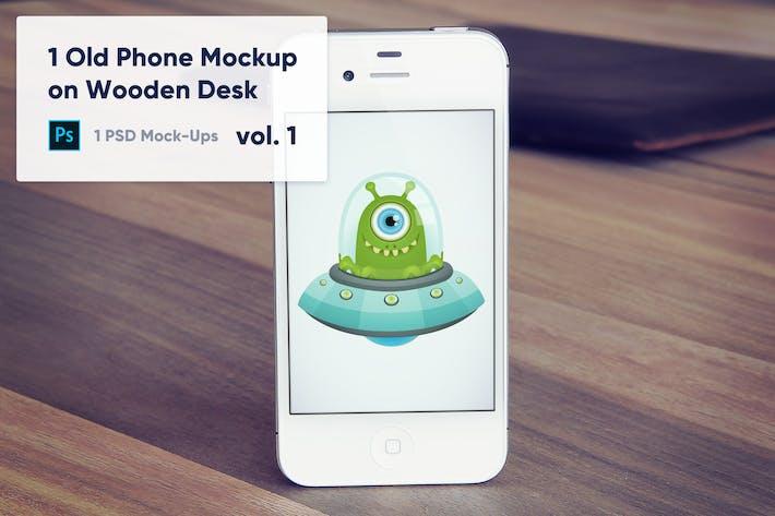 Thumbnail for 1 Old Phone Mockup on Wooden Desk Vol.1