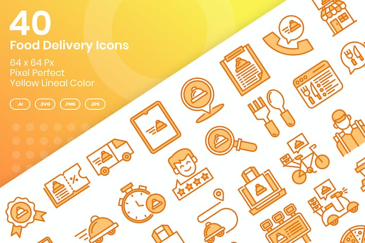Thumbnail for 40 Food Delivery Icons Set - Yellow Lineal Color