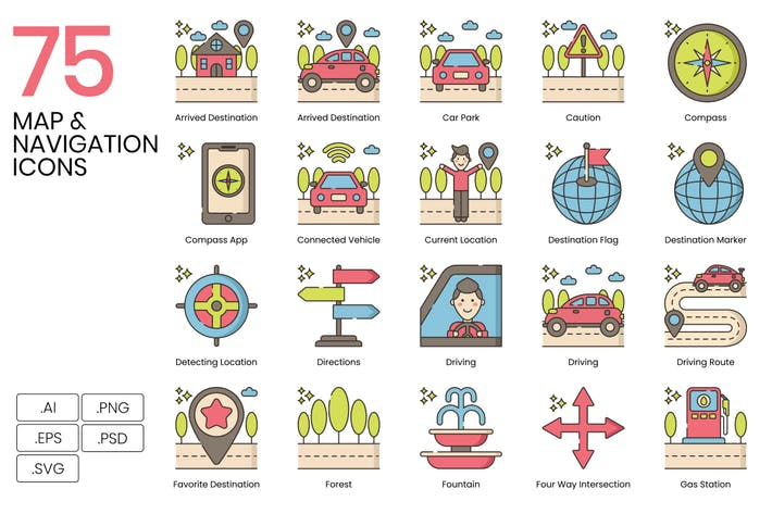 Thumbnail for 75 Map & Navigation Line Icons