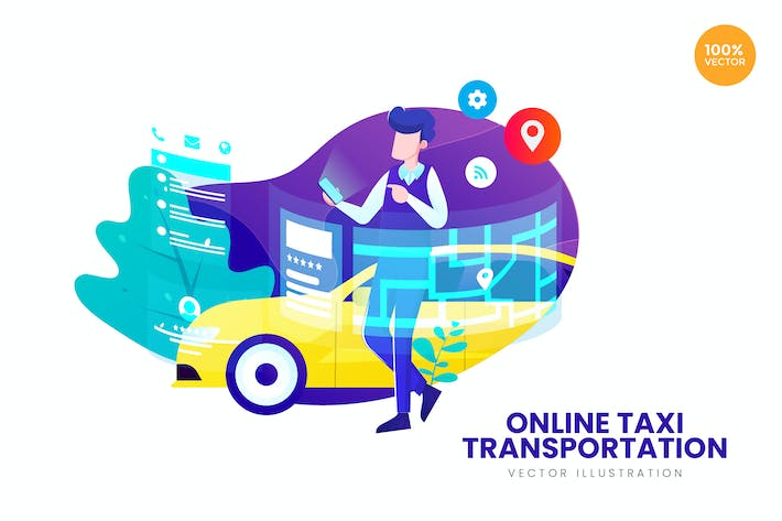 Thumbnail for Online Taxi Transportation Vector Illustration