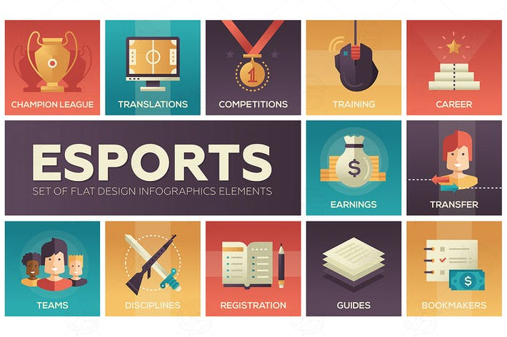 Thumbnail for Esports - modern vector flat design icons set