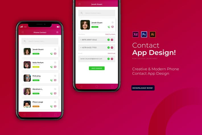 Thumbnail for Phone Contact | App Design Template