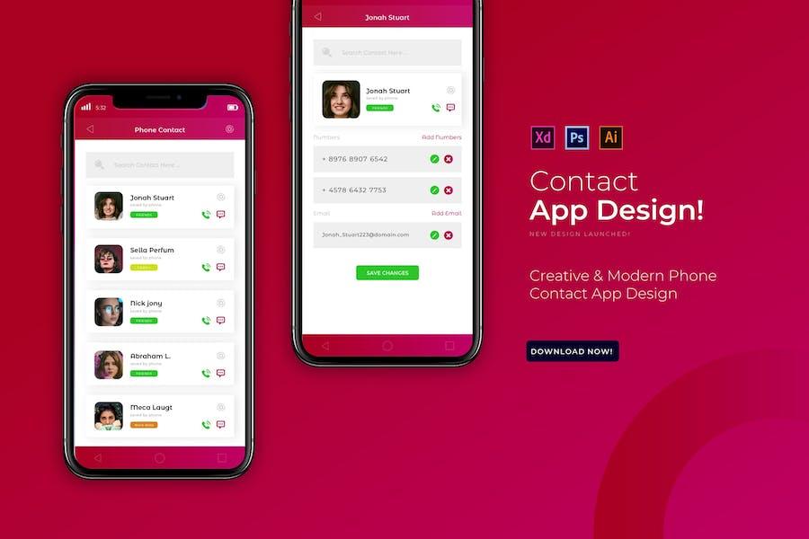 Phone Contact   App Design Template