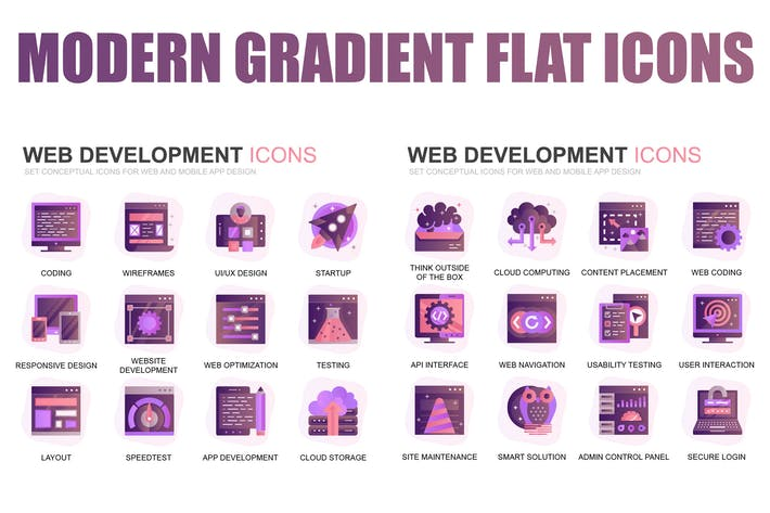 Cover Image For Modern Set Gradient Flat Icons