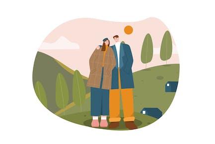 Couple at Hills Flat Illustration