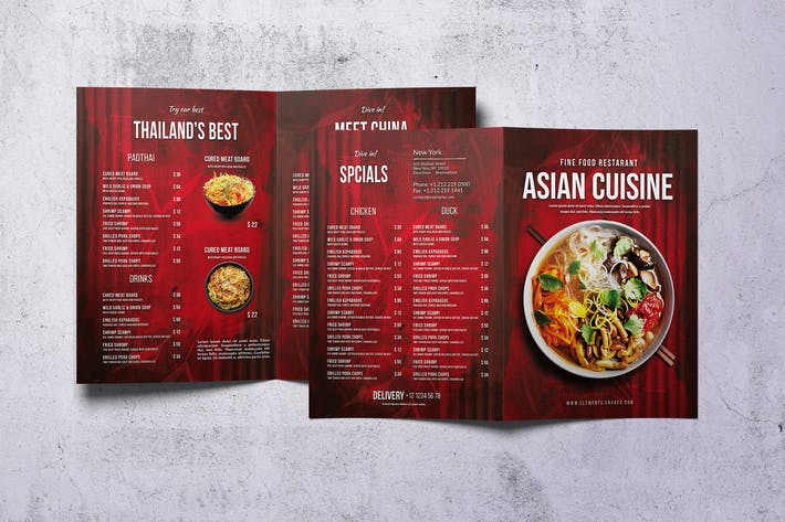 Thumbnail for Asian Bifold A4 & US Letter Food Menu V2